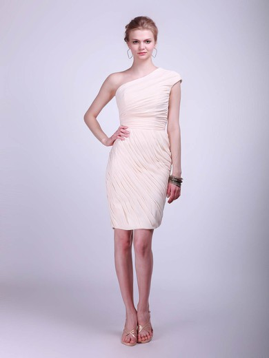 Chiffon Sheath/Column One Shoulder Knee-length Pleats Bridesmaid Dresses #PDS02013681
