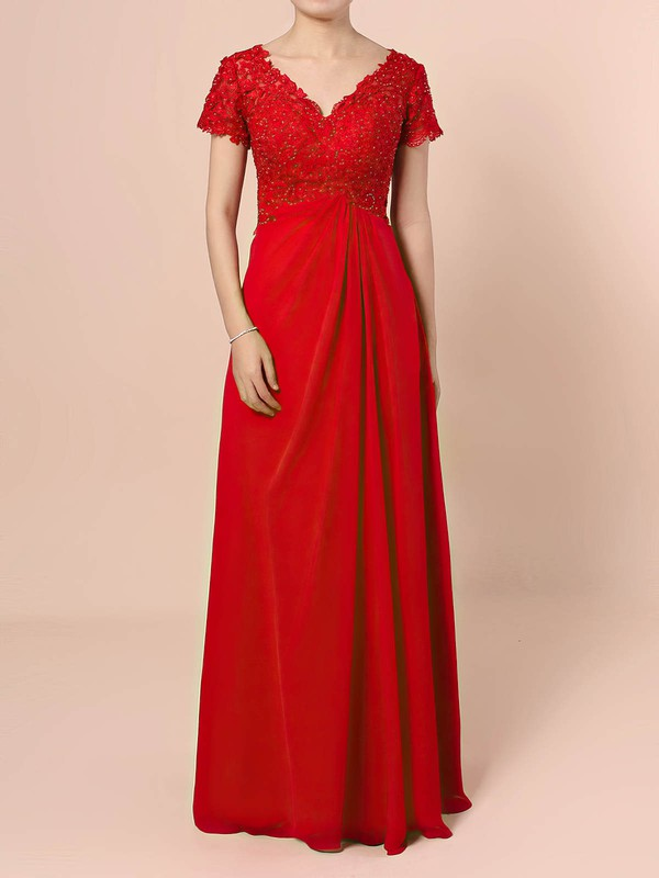 A-line V-neck Floor-length Lace Chiffon Beading Mother of the Bride Dresses #PDS01021721