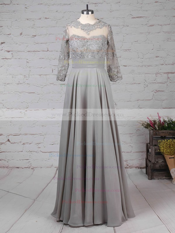 A-line Scoop Neck Floor-length Chiffon Tulle Appliques Lace Mother of the Bride Dresses #PDS01021724