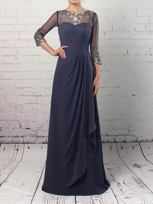 A-line Scoop Neck Floor-length Chiffon Tulle Beading Mother of the Bride Dresses #PDS01021730