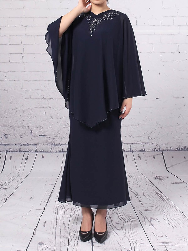 Sheath/Column V-neck Tea-length Chiffon Beading Mother of the Bride Dresses #PDS01021687