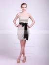 Tulle Sheath/Column High Neck Short/Mini Sashes/Ribbons Bridesmaid Dresses #PDS02013682