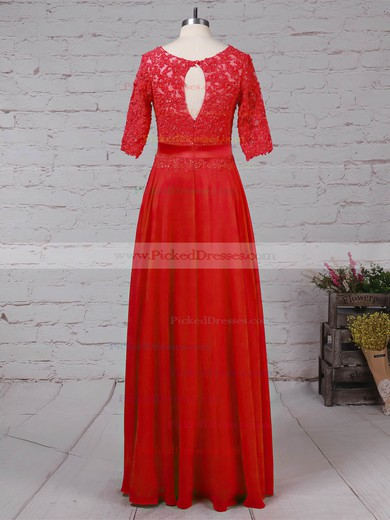 A-line Scoop Neck Floor-length Chiffon Tulle Beading Mother of the Bride Dresses #PDS01021702