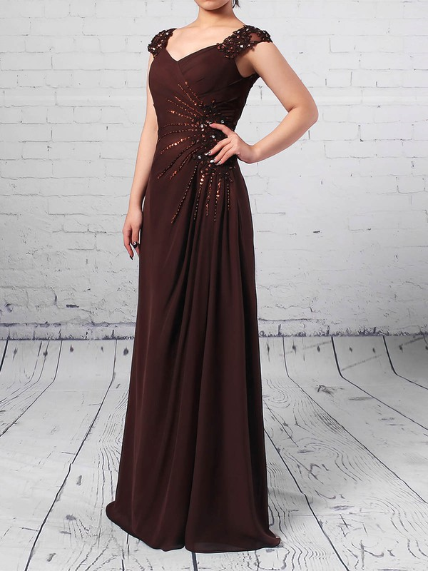 A-line V-neck Floor-length Chiffon Tulle Beading Mother of the Bride Dresses #PDS01021713