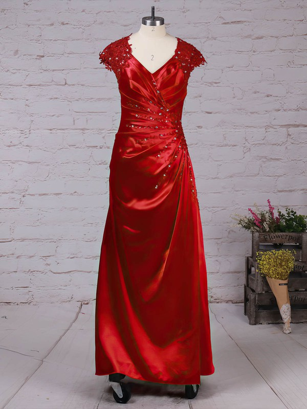 A-line V-neck Ankle-length Satin Tulle Beading Mother of the Bride Dresses #PDS01021719