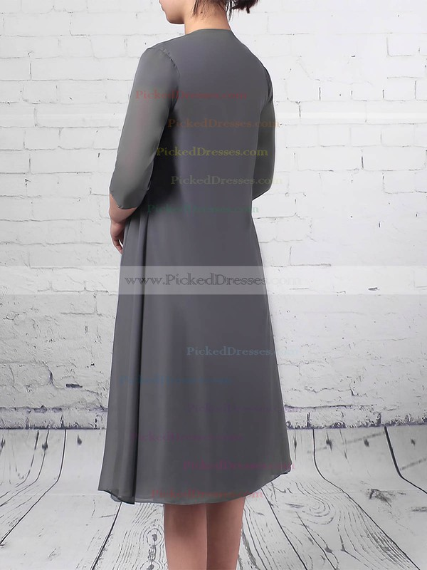 A-line V-neck Knee-length Chiffon Tulle Beading Mother of the Bride Dresses #PDS01021725
