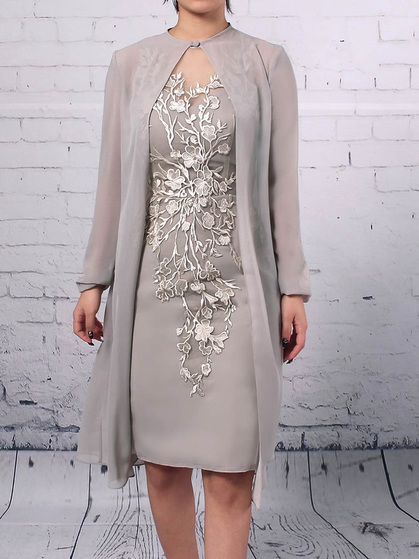 Sheath/Column Scoop Neck Knee-length Chiffon Tulle Appliques Lace Mother of the Bride Dresses #PDS01021680