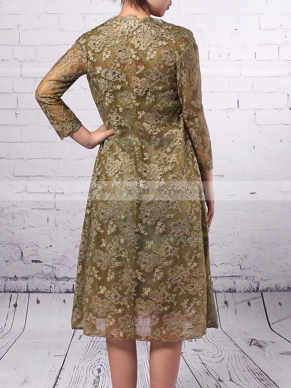 Sheath/Column Scoop Neck Knee-length Lace Taffeta Appliques Lace Mother of the Bride Dresses #PDS01021672