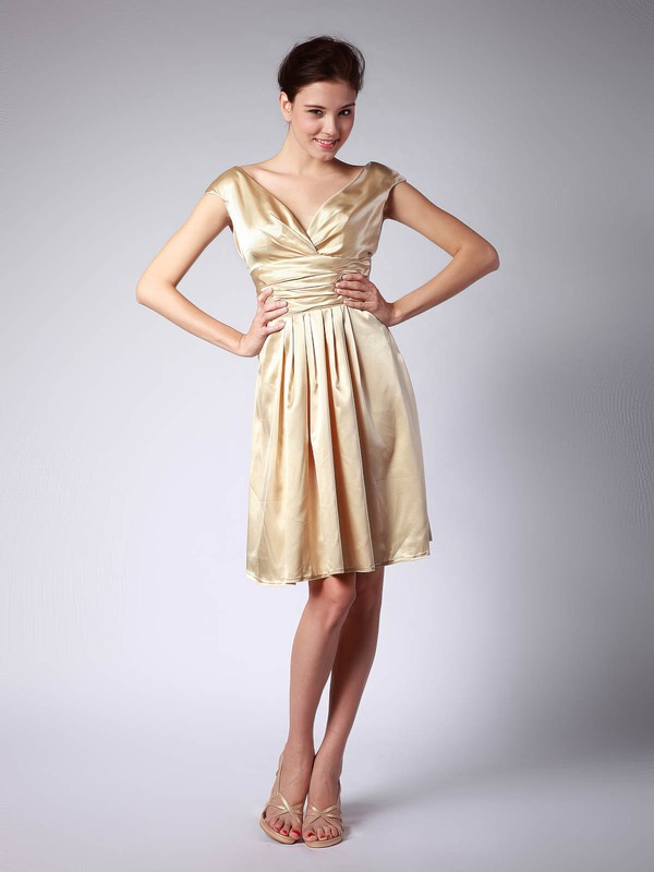 Satin A-line V-neck Knee-length Pleats Bridesmaid Dresses #PDS02013684