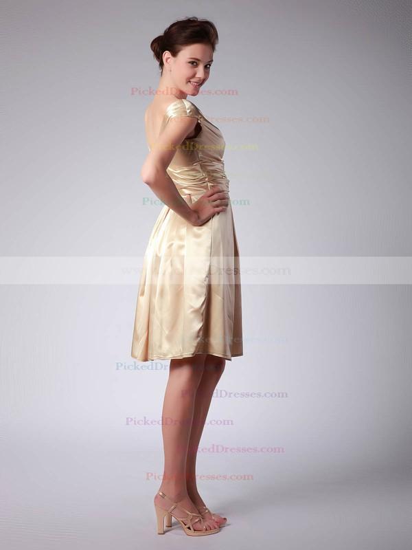Satin A-line V-neck Knee-length Pleats Bridesmaid Dresses #PDS02013684