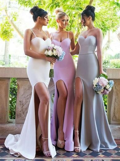 Trumpet/Mermaid Sweetheart Sweep Train Silk-like Satin Split Front Bridesmaid Dresses #PDS01013667