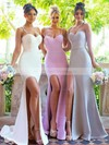 Trumpet/Mermaid Sweetheart Sweep Train Silk-like Satin Split Front Bridesmaid Dresses #PDS01013667
