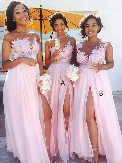 A-line Scoop Neck Floor-length Chiffon Tulle Appliques Lace Bridesmaid Dresses #PDS01013668