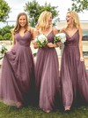 A-line V-neck Floor-length Tulle Ruffles Bridesmaid Dresses #PDS01013670