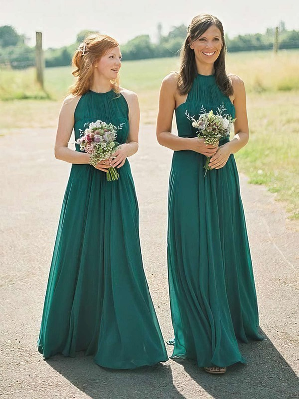A-line Scoop Neck Floor-length Chiffon Bridesmaid Dresses #PDS01013671