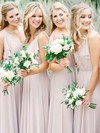 A-line V-neck Floor-length Chiffon Bridesmaid Dresses #PDS01013673
