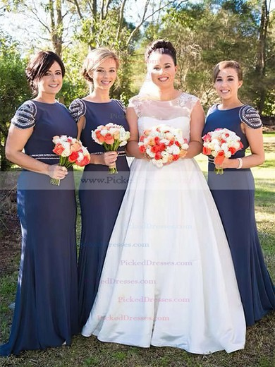 Trumpet/Mermaid Scoop Neck Sweep Train Jersey Beading Bridesmaid Dresses #PDS01013675