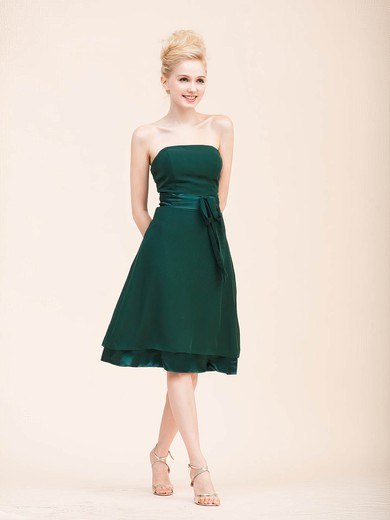 Chiffon A-line Strapless Knee-length Sashes/Ribbons Bridesmaid Dresses #PDS02022795
