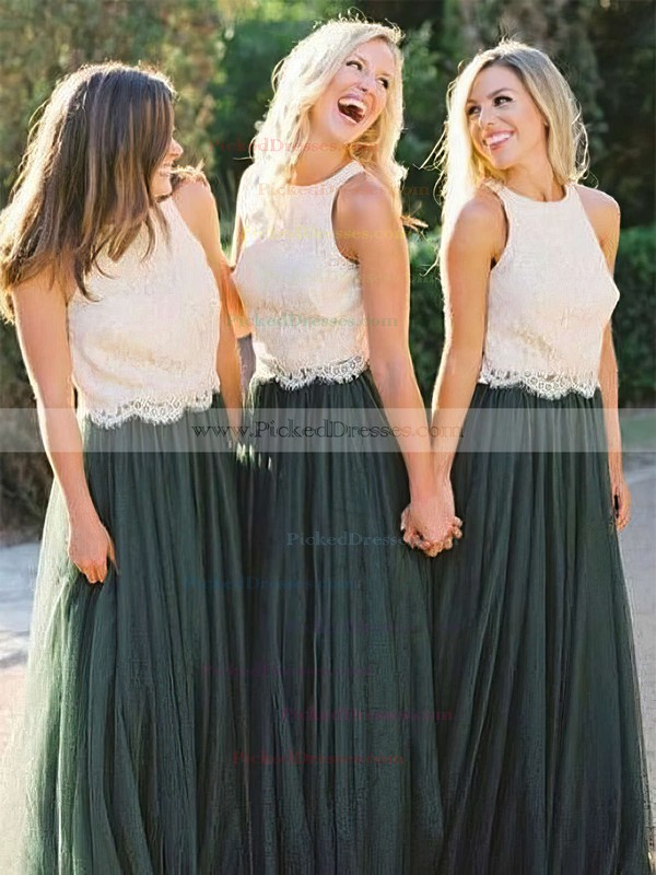 A-line Scoop Neck Floor-length Tulle Lace Bridesmaid Dresses #PDS01013676