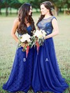 A-line Scoop Neck Sweep Train Tulle Lace Bridesmaid Dresses #PDS01013680