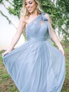 A-line One Shoulder Floor-length Tulle Ruffles Bridesmaid Dresses #PDS01013681