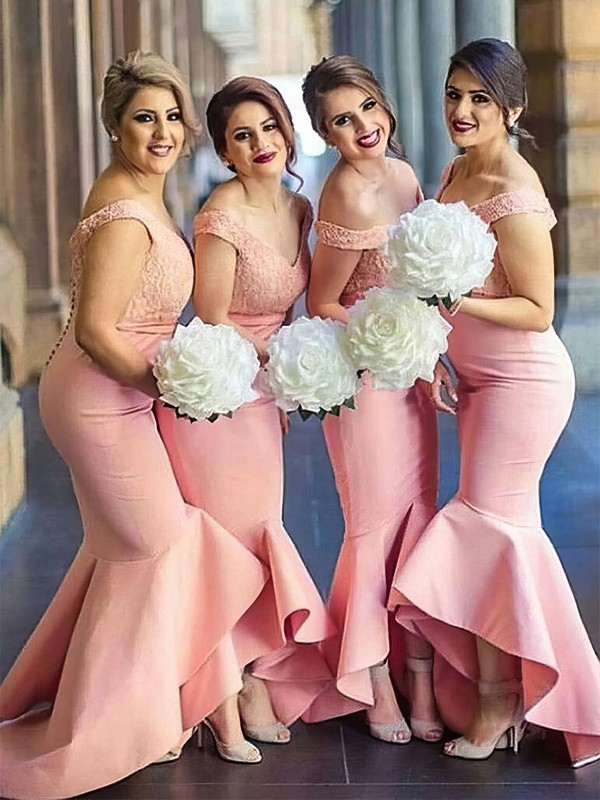 Trumpet/Mermaid Off-the-shoulder Asymmetrical Silk-like Satin Lace Bridesmaid Dresses #PDS01013683