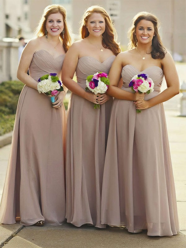 A-line Sweetheart Floor-length Chiffon Ruffles Bridesmaid Dresses #PDS01013684