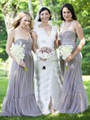 A-line Sweetheart Floor-length Tulle Sashes / Ribbons Bridesmaid Dresses #PDS01013685
