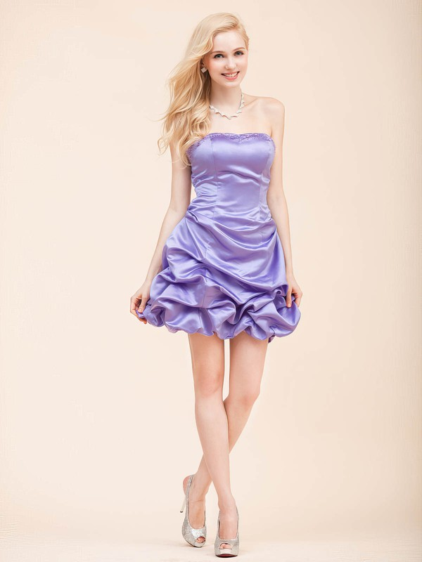 Satin A-line Strapless Short/Mini Draped Bridesmaid Dresses #PDS02022798