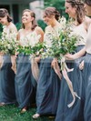 A-line Scoop Neck Floor-length Tulle Bridesmaid Dresses #PDS01013687