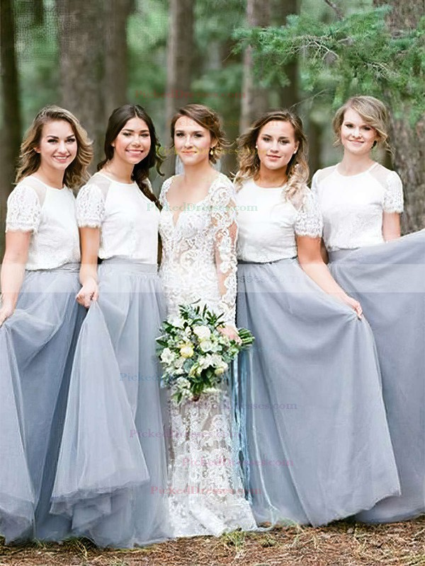 A-line Scoop Neck Floor-length Tulle Lace Bridesmaid Dresses #PDS01013688