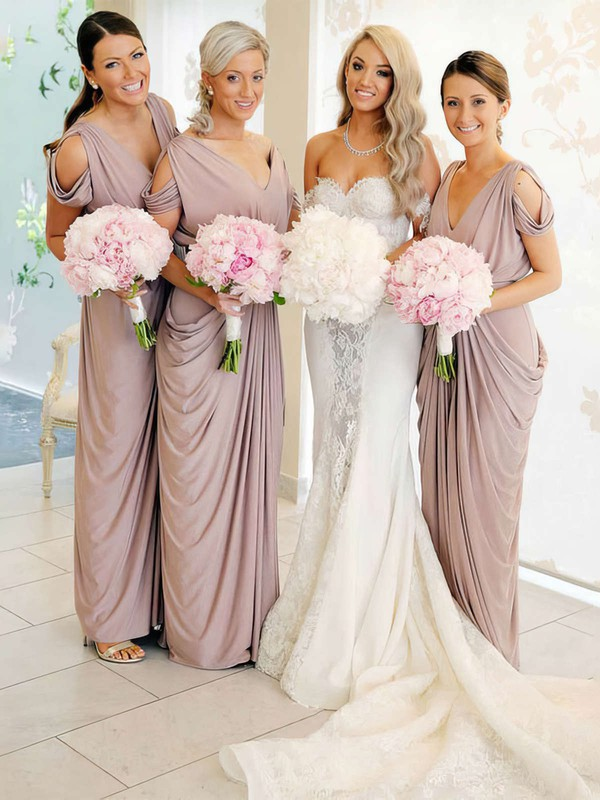 Sheath/Column V-neck Floor-length Silk-like Satin Pick-Ups Bridesmaid Dresses #PDS01013690
