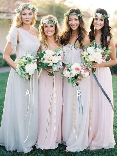A-line One Shoulder Floor-length Chiffon Ruffles Bridesmaid Dresses #PDS01013691