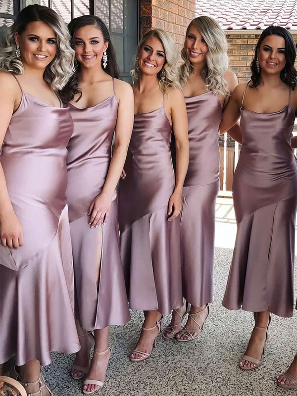 Sheath/Column Cowl Neck Tea-length Silk-like Satin Bridesmaid Dresses #PDS01013693