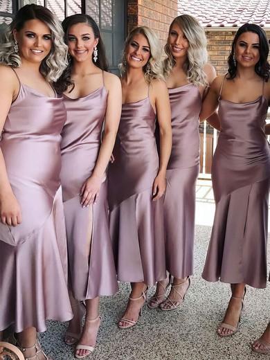 Sheath/Column Cowl Neck Tea-length Silk-like Satin Bridesmaid Dresses #PDS01013693