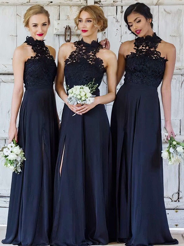 A-line High Neck Floor-length Lace Chiffon Split Front Bridesmaid Dresses #PDS01013694