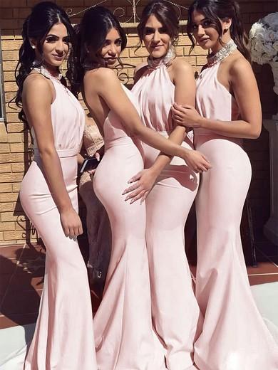 Trumpet/Mermaid Halter Sweep Train Silk-like Satin Beading Bridesmaid Dresses #PDS01013695