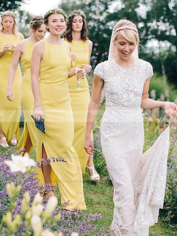 Sheath/Column Scoop Neck Ankle-length Silk-like Satin Split Front Bridesmaid Dresses #PDS01013696
