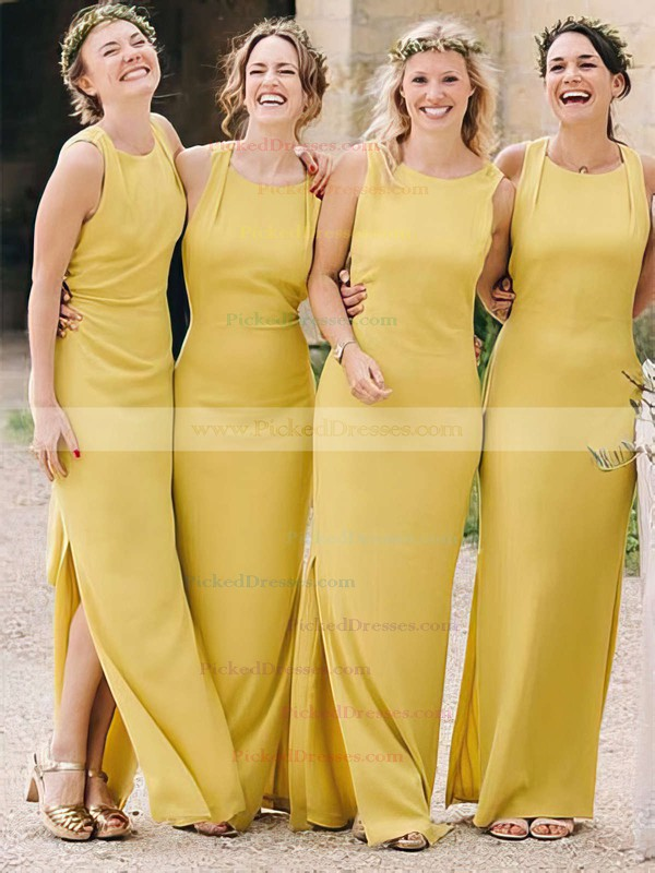 Sheath/Column Scoop Neck Ankle-length Silk-like Satin Split Front Bridesmaid Dresses #PDS01013696