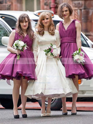 Ball Gown V-neck Knee-length Organza Ruffles Bridesmaid Dresses #PDS01013697