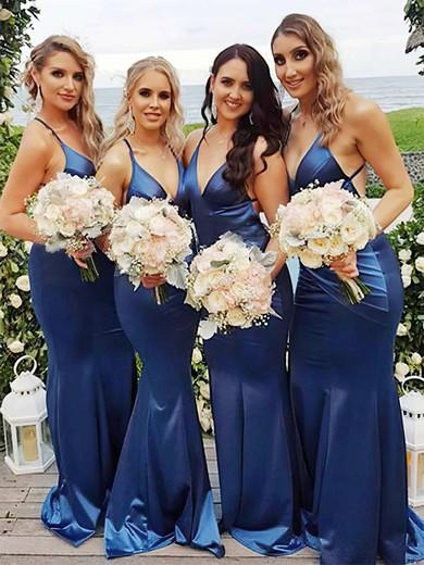 Trumpet/Mermaid V-neck Sweep Train Silk-like Satin Bridesmaid Dresses #PDS01013706
