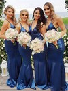 Trumpet/Mermaid V-neck Sweep Train Silk-like Satin Bridesmaid Dresses #PDS01013706