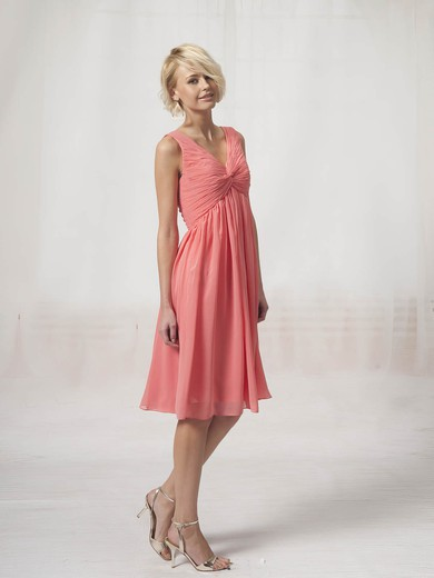 Chiffon A-line V-neck Knee-length Pleats Bridesmaid Dresses #PDS02022816