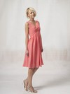 Chiffon A-line V-neck Knee-length Pleats Bridesmaid Dresses #PDS02022816