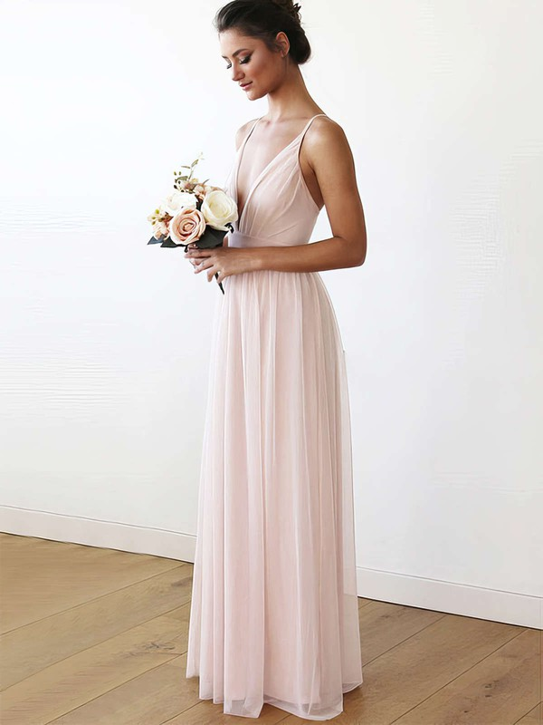 A-line V-neck Floor-length Chiffon Bridesmaid Dresses #PDS01013708