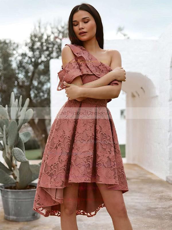 A-line One Shoulder Asymmetrical Lace Bridesmaid Dresses #PDS01013709