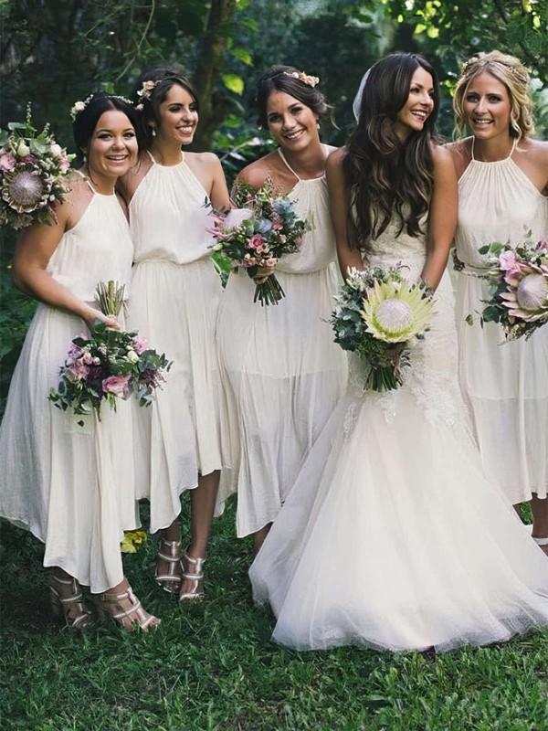 A-line Halter Tea-length Chiffon Bridesmaid Dresses #PDS01013711
