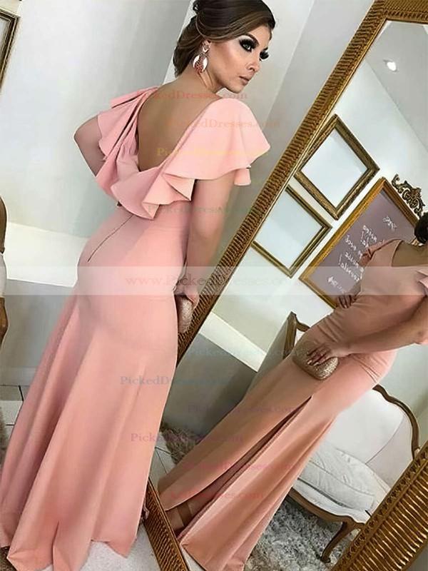 Sheath/Column V-neck Sweep Train Silk-like Satin Split Front Bridesmaid Dresses #PDS01013712
