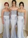 Trumpet/Mermaid Sweetheart Sweep Train Silk-like Satin Beading Bridesmaid Dresses #PDS01013713