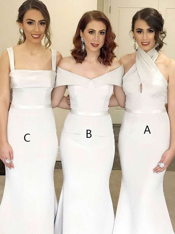 Trumpet/Mermaid Off-the-shoulder Sweep Train Silk-like Satin Sashes / Ribbons Bridesmaid Dresses #PDS01013714